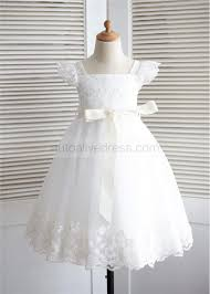 ivory lace tulle puff sleeves knee length flower dress