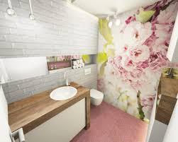 3d visualisierung gäste wc feminin rosa florale