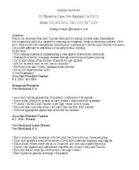 Resume Examples For Teacher Assistant Preschool Sample This Is Objecti