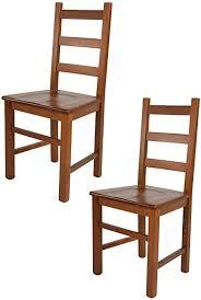 tommychairs 2er set stühle rustica für küche und esszimmer robuste struktur aus buchenholz in der farbe helles nussbraun lackiert und sitzfläche