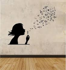 Girl Blowing Music Notes Vinyl Wall Decal Sticker Art Decor Bedroom Design Mural Interior Family