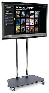 Tv Stand Display Mobile With Locking Wheels For Television Trade Shows