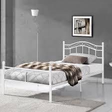 metallbett 90x200 weiß bettgestell bett schlafzimmer jugendbett en casa