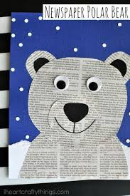 This Newspaper Polar Bear Craft Is Perfect For A Winter Kids Preschool And Arctic Animal Crafts