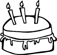Black & White Line Drawing of a Simple Birthday Cake Prawny Occasion Clip Art