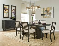 Cream Rug Under The Rectangle Dark Brown Wooden Table Plus Chairs With