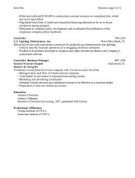 Controller Business Manager Resume Sample