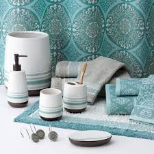 new sonoma life style tiburon fabric shower curtain teal gray ebay