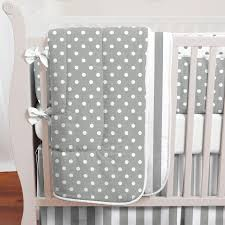 Gray and White Dots and Stripes Crib Bedding