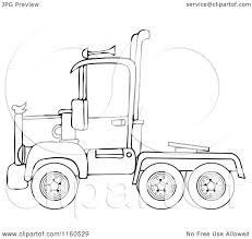 Cartoon Of An Outlined Big Rig Semi Truck Cab - Royalty Free ... Semi Truck Side View Png Clipart Download Free Images In Peterbilt Truck 36 Delivery Clipart Black And White Draw8info Semi 3 Prime Mover Royalty Free Vector Clip Art Fedex Pencil Color Fedex Wheeler Clipground Cartoon 101 Of 18 Wheel Trucks Collection Wheeler Royaltyfree Rf Illustration A 3d Silver On