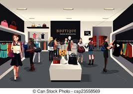 Inside Modern Clothing Store Vector