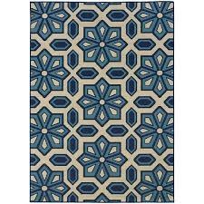 StyleHaven Tiles Ivory Blue Indoor Outdoor Area Rug 6 7x9 6