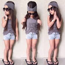 Trendy Kids Baby Girl Outfits Sets Headband Short Sleeve Tops T Shirt Jeans Pants Clothes 2 6 Years 3 Pcs In Clothing From Mother On