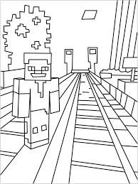 Printable Minecraft City Coloring Pages