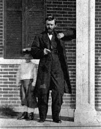 Ulysses S Grant And His Son Jesse Root On The Porch Of Their
