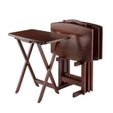 4 set one ständer faltbare holz tv tablett nussbaum seite tisch für wohnzimmer oder küche zimmer buy tv tablett klapptisch tv tabellen für