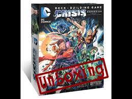 unboxing dc comics deck building game crisis expansion pack 1