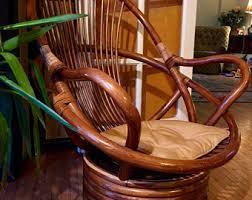 Vintage MCM Rattan Swivel Lounge Chair