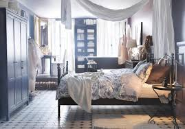 Svelvik Bed Frame by Rustic Boy Bedroom With Recatngular Black Wooden Wardrobe