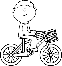 Boy Riding Bicycle Clipart