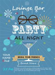 Party Poster Design With Wineglass On Blue Background