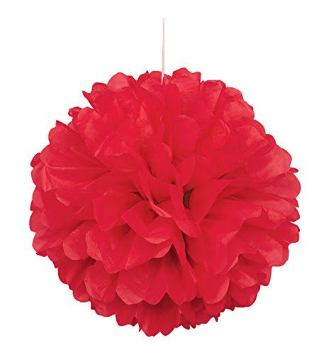 Unique Industries Tissue Paper Puff Ball Party Decoration - 40cm, Red