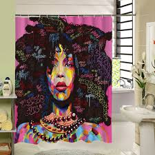 Kinky Shower Curtain Afrocentric African American Home Decor Black Girl Women Woman Bathroom Unique Urban Ethnic