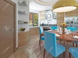 moderne küche und esszimmer im stil des kitsches küche mit hellem holz esstisch für sechs personen 3d übertragen