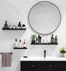 schwarz bad dusche regal multifunktions wand bad eitelkeit spiegel lagerung rack schwimmende regal bad zubehör