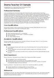 Drama Teacher Cv Sample Myperfectcv Rh Co Uk Secondary Math Resume Examples