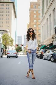 women u0027s white dress shirt blue ripped boyfriend jeans brown