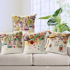 Bohemian Throw Pillows Case Bird Birdcage Cushion Cover Owl Tree Branch Cojines For Sofa Chair Almofadas Outdoor Cushions On Sale 24