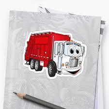 Red White Smiling Garbage Truck Cartoon