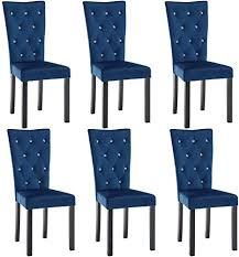 vidaxl 6x esszimmerstuhl samt dunkelblau küchenstuhl lehnstuhl polsterstuhl
