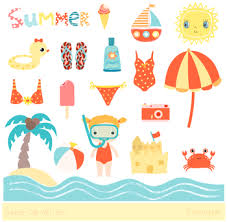 Cute Summer Clipart Beach Holiday Vacation Sun Camera Sandcastle