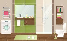 badezimmer innenraumkonzept mit waschmaschine sanitärkeramik grün beige wände und geflieste braun boden vektor illustration