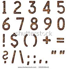 Rustic Rough Wood Style Simple Font Full Numbers Signs And Symbols Set In A