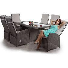 luxus poly rattan garnitur burgos premium lounge set alu sitzgruppe tisch 6 verstellbare stühle grau