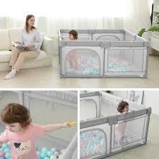 dripex laufstall baby laufgitter absperrgitter mit atmungsaktivem netz 150x200cm schutzgitter krabbelgitter für kinder große sicherheitsspielplatz