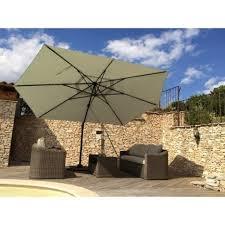 parasol déporté marco gris rectangulaire l 420 x l 300 cm leroy