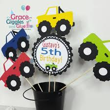 5pc Personalized Monster Truck Themed Centerpiece, Truck Centerpiece ... Personalised Monster Truck Edible Icing Birthday Party Cake Topper Buy 24 Truck Tractor Cupcake Toppers Red Fox Tail Tm Online At Low Monster Trucks Cookie Cnection Grave Digger Free Printable Sugpartiesla Blaze Cake Dzee Designs Jam Crissas Corner Cake Topper Birthday Edible Printed 4x4 Set Of By Lilbugspartyplace 12 Personalized Grace Giggles And Glue Image This Started