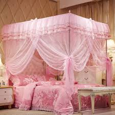 Bella Lux Bedding by Mosquito Net Bed Canopy Lace Luxury 4 Corner Square Princess Fly