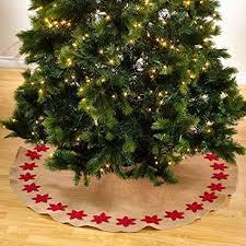 Fennco Styles Felicia Poinsettia Burlap Holiday Christmas Tree Skirt53quot Skirt