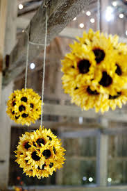 Artificial Sunflowers Kissing Ball in Yellow 7