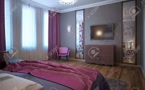 kontrast der dunklen rosa und grau im innenraum des fusions schlafzimmer 3d übertragen