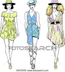 Clip Art Of Vector Set Fashion Top Models In Summer Dresses And