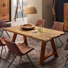 esszimmertisch aus teak recyclingholz loft design tisch