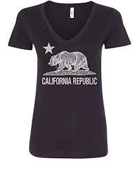California Republic Bear Flag V Neck T Shirt Grizzly Cali CA Star