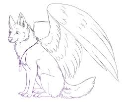 Winged Wolf Printable Anime Wolves Coloring Pages