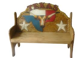 Texas Longhorn Hand Painted Rustic Pine FurnitureBench Mexican